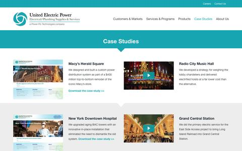 Screenshot of Case Studies Page unitedelectricpower.com - Case Studies | United Electric Power - captured Dec. 18, 2016