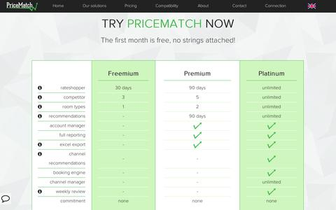 Screenshot of Pricing Page pricematch.travel - PriceMatch   Pricing - captured Sept. 11, 2014
