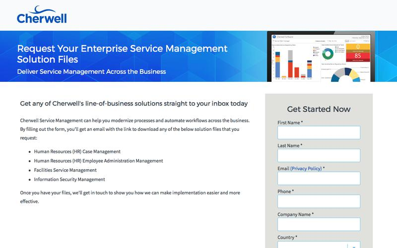 Request any of Cherwell's Enterprise Service Management Solutions Today