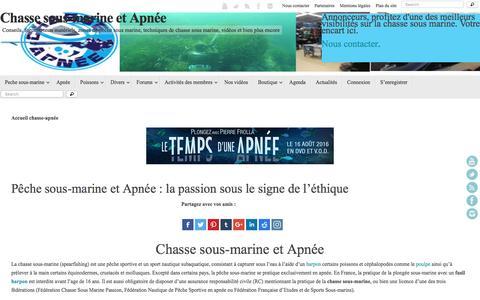 Screenshot of Home Page chasse-sous-marine-apnee.com - chasse sous-marine et apnée : toute l'information indispensable. - captured Jan. 24, 2017