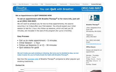 Screenshot of Contact Page Maps & Directions Page quitwithbreathe.com - Breathe Therapy, Minnesota: Contact Us - captured Oct. 5, 2014