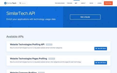 Screenshot of similartech.com - SimilarTech API - captured Oct. 25, 2017