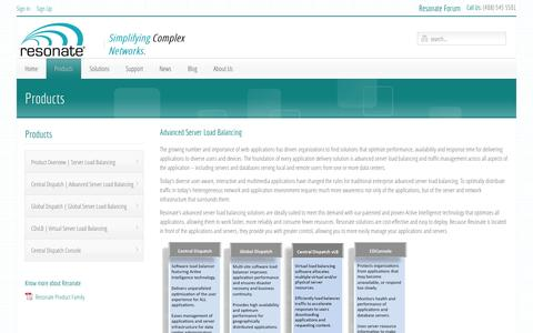 Screenshot of Products Page resonate.com - Advanced Server Load Balancing and Global Server Load Balancing - captured Oct. 10, 2014