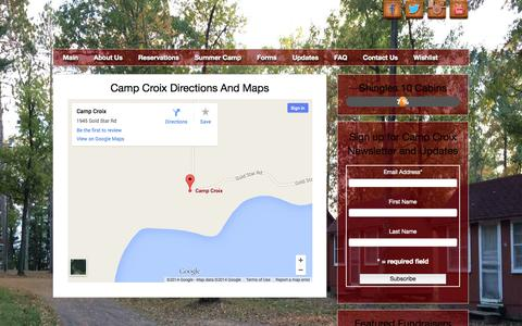 Screenshot of Maps & Directions Page campcroix.org - Directions and Maps Camp Croix Youth Bible Camp - captured Oct. 27, 2014