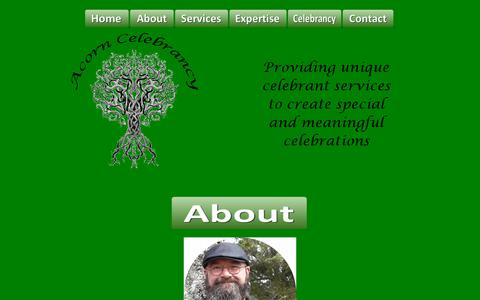 Screenshot of About Page pagangrove.net - About us - Acorn Celebrancy for Unique Services to Create Special and Meaningful Celebrations - captured Oct. 30, 2018