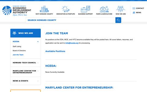 Screenshot of Signup Page hceda.org - Howard County Economic Development Authority - Join the Team - captured Sept. 30, 2018