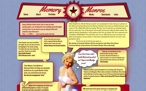 Screenshot of Testimonials Page memorymonroe.com - Memory Monroe Testimonials - captured Sept. 30, 2014