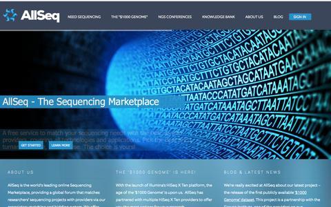 Screenshot of Home Page allseq.com - The Global Sequencing Service Marketplace - AllSeq - captured Sept. 30, 2014