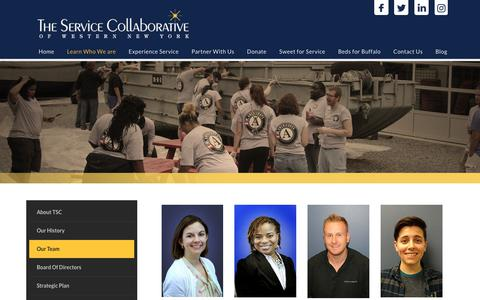 Screenshot of Team Page tscwny.org - The Service Collaborative of WNY - AmeriCorps | YouthBuild | Volunteer | Buffalo NY > Learn Who We are > Our Team - captured Oct. 2, 2018