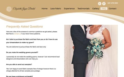 Screenshot of FAQ Page elizabethjayne.co.nz - Bridal Fabric FAQ| Elizabeth Jayne | Wedding Dress Fabric Browns Bay - captured July 29, 2017
