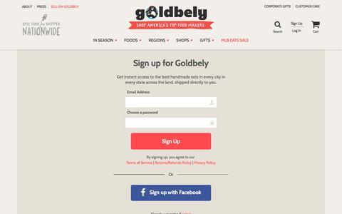 Screenshot of Signup Page goldbely.com captured Oct. 11, 2017
