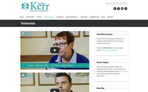 Screenshot of Testimonials Page jackiekerrrecruitment.com - Testimonials « Jackie Kerr Recruitment - captured Nov. 2, 2014