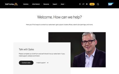 Screenshot of Contact Page ariba.com - Contact SAP Ariba for Customer Support and Sales - captured Nov. 15, 2019