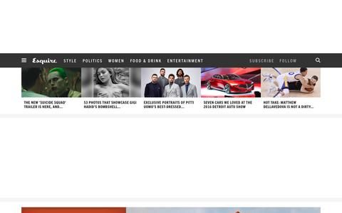 Screenshot of Home Page esquire.com - Esquire - Men's Fashion, Cocktails, Politics, Interviews, and Women - captured Jan. 21, 2016