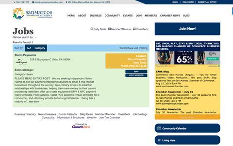 Screenshot of Jobs Page sanmarcoschamber.com - Jobs - San Marcos Chamber of Commerce - captured Oct. 2, 2018
