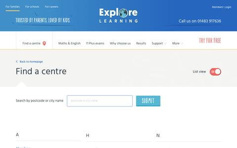 Screenshot of Locations Page explorelearning.co.uk - Browse a list of our tuition centres - Explore Learning - captured March 2, 2017