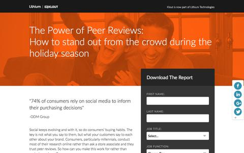 Screenshot of Landing Page lithium.com - The Power of Peer Reviews: How to stand out from the crowd during the holiday season | Lithium - Klout Resources - captured March 21, 2016