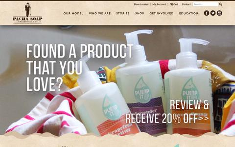 Screenshot of Home Page pachasoap.com - Premium Products. Mission-Driven   Pacha Soap - captured Sept. 30, 2015