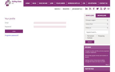 Screenshot of Login Page ashleykatehr.com - HR job opportunites - Ashley Kate HR - Search for current HR jobs - captured Nov. 21, 2016