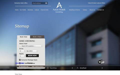 Screenshot of Site Map Page astonhotels.co.uk - Sitemap - Aston Hotels UK | Aston Group Hotels - captured Oct. 4, 2014