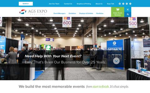 Screenshot of Home Page ags-expo.com - AGS Exposition Services - captured Oct. 2, 2018