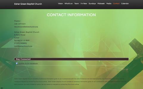 Screenshot of Contact Page esherchurch.org - Contact «  Esher Green Baptist Church - captured Jan. 30, 2016