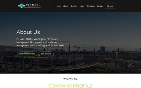 Screenshot of About Page planate.net - About Us | Planate Management Group - Official Website - captured Sept. 25, 2018