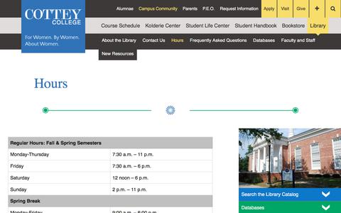 Screenshot of Hours Page cottey.edu - Hours - Cottey College - captured Sept. 5, 2017