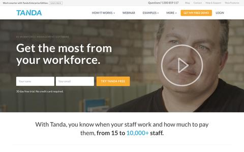 Screenshot of Home Page tanda.co - Time & Attendance Software | Workforce Management | Tanda - captured Aug. 18, 2016