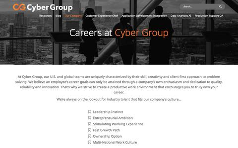Screenshot of Jobs Page cygrp.com - Careers | Cyber Group - captured July 7, 2019
