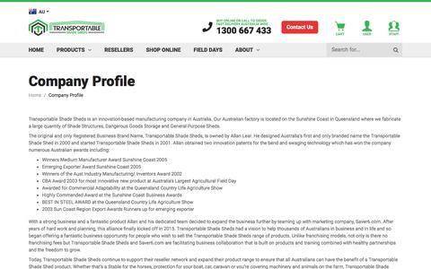 Screenshot of About Page shadesheds.com.au - Company Profile - captured July 1, 2018