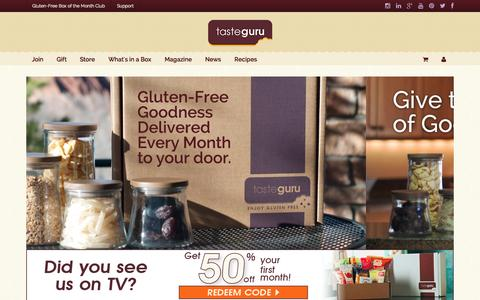 Screenshot of Home Page Menu Page tasteguru.com - Taste Guru - Gluten-Free Box of the Month Club - captured Sept. 19, 2014