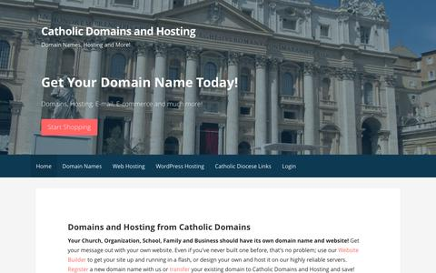 Screenshot of Home Page catholicdomains.org - Catholic domain names - Catholic Domains and Hosting - captured Oct. 26, 2016