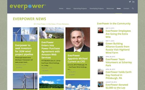 Screenshot of Press Page everpower.com - EverPower Wind Holdings |   News - captured Nov. 11, 2016