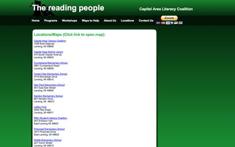 Screenshot of Locations Page thereadingpeople.org - CALCGreen - captured Oct. 1, 2014