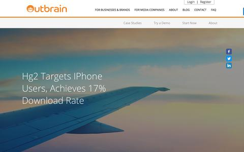 Screenshot of Case Studies Page outbrain.com - Hg2's Case Study: Achieves 17% App Download Rate | Outbrain.com - captured April 19, 2018