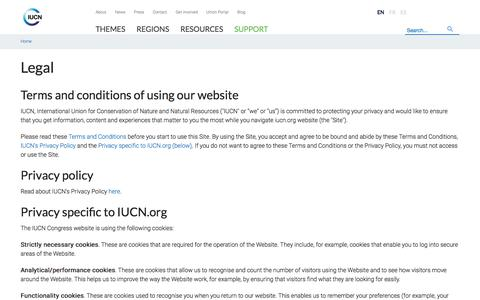 Screenshot of Terms Page iucn.org - Legal   IUCN - captured Jan. 22, 2020