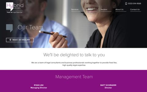 Screenshot of Team Page hybridlegal.co.uk - Our Team | Hybrid Legal - captured Dec. 13, 2015