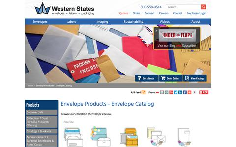 Screenshot of Products Page wsel.com - Envelope Products - Envelope Catalog | WSEL - captured Oct. 20, 2018