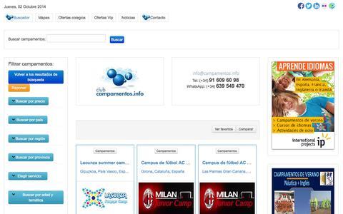Screenshot of Home Page campamentos.info - Buscador de Club campamentos.info - captured Oct. 2, 2014