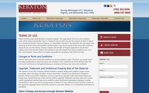 Screenshot of Terms Page kerxton.com - Website Terms of Use from Kerxton Insurance - captured Oct. 1, 2014