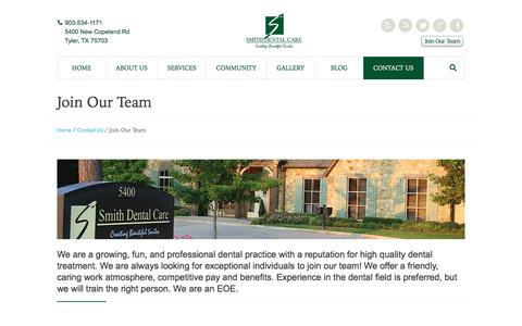 Screenshot of Team Page smithdentaltyler.com - Join Our Team | Smith Dental - captured June 17, 2016