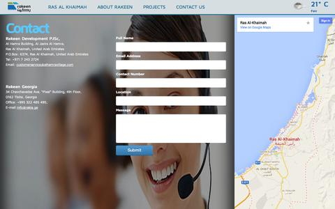Screenshot of Contact Page rakeen.com - RAKEEN - A fresh approach to development - captured Oct. 26, 2014