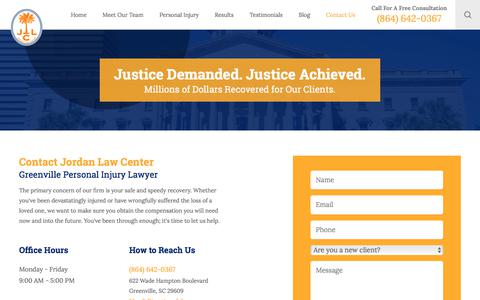 Screenshot of Contact Page jordanlawcenter.com - Contact Us | Greenville Personal Injury Lawyer - captured Jan. 15, 2018