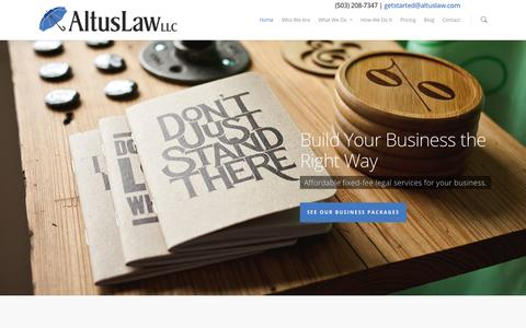 Screenshot of Home Page altuslaw.com - AltusLaw - Small Business Attorneys, Portland Oregon - captured Feb. 5, 2016