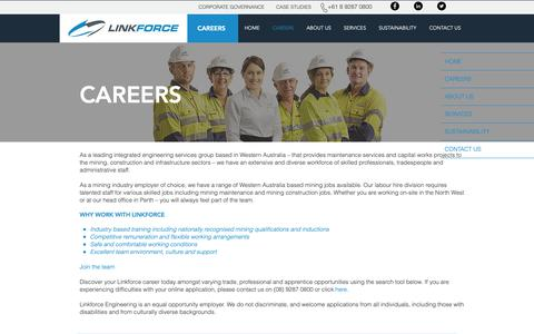 Screenshot of Jobs Page linkforce.com.au - Integrated Engineering Services | CAREERS - captured Sept. 29, 2018