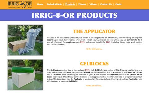 Screenshot of Products Page irrig8or.com.au - Product Range  | IRRIG-8-OR - captured Oct. 4, 2014