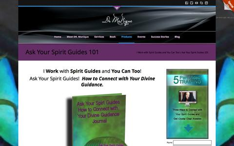 Screenshot of Products Page drmonique.com - Ask Your Spirit Guides 101 | Dr.Monique Hunt - captured Feb. 9, 2016