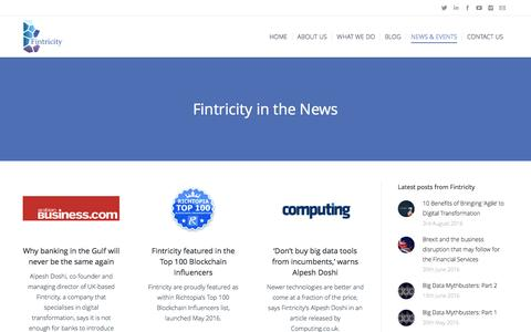 Screenshot of Press Page fintricity.com - Fintricity in the News - captured Aug. 4, 2016