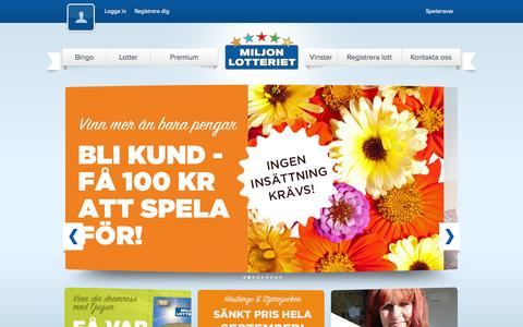 Screenshot of Home Page miljonlotteriet.se - Vinn drömvinster med Miljonlotteriet - captured Sept. 25, 2014